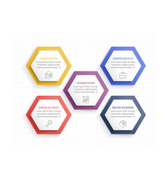 five hexagons vector image
