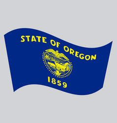 Flag of oregon waving on gray background vector