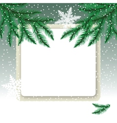 Frame on the snowdrift and fir tree branches vector image