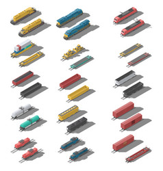freight railroad cars and locomotives isometric vector image