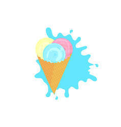 fruit ice cream balls in a waffle cone vector image