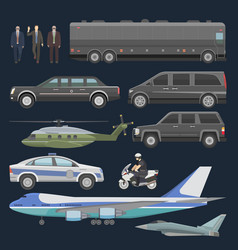 Government car presidential auto plane and vector