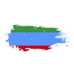 grunge brush stroke with dagestan national flag vector image