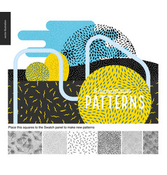 hand drawn back and white 6 patterns set vector image