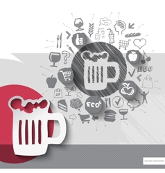Hand drawn beer icons with food icons background vector