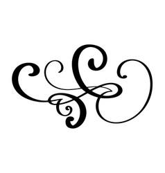 Hand drawn border flourish separator calligraphy vector
