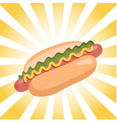 hot dog with mustard and lettuce on retro radial vector image