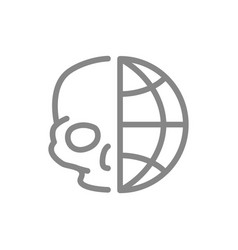 Human skull with planet line icon day dead vector