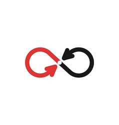Infinity mockup logo black and red arrows vector