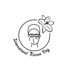 International nurses day linear emblem vector