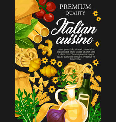 Italian cuisine with pasta and herbs vector