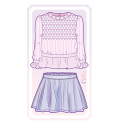 Knitted blouse and flared skirt vector