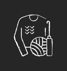 Knitwear alteration and repair chalk white icon vector