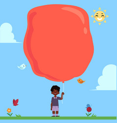 little african boy with extremely big red balloon vector image