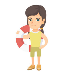 little caucasian girl holding a red-white lifebuoy vector image