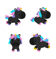 little unicorns in modern flat style isolated vector image