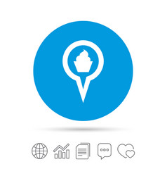 Map pointer food sign icon marker symbol vector