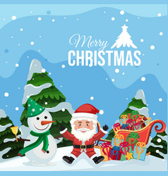 merry christmas santa and snowman vector image