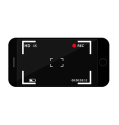 Mobile phone screen with camera viewfinder vector