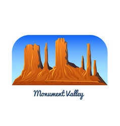 Monument valley mountains and peaks and landscape vector