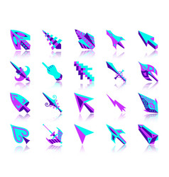 mouse cursor simple flat color icons set vector image