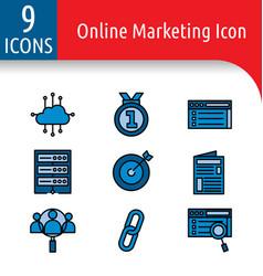 Online market color icon vector