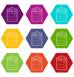 Packing list icons set 9 vector