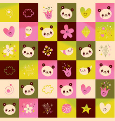 Panda bears hearts flowers nature pattern vector