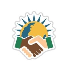 Paper sticker on white background handshake earth vector