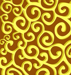 Pattern with yellow stylish spiral curls on brown vector