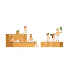 People characters spending time in sauna vector