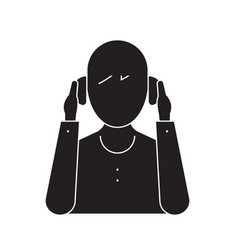 person wearing headphones black concept vector image