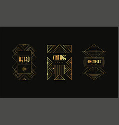 retro style logo templates set vintage art deco vector image
