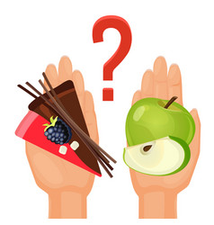 ripe green apple and delicious cake in human hands vector image