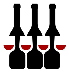 Row of wine bottles and glass silhouette vector