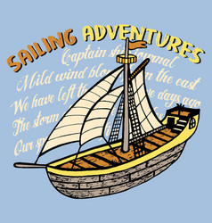 Sailing adventures print for kids vector