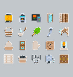 sauna equipment patch sticker icons set vector image