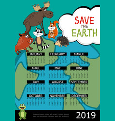 save world 2019 year calendar poster vector image