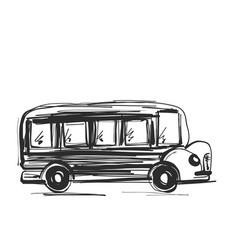 School bus icon outlined on white background vector