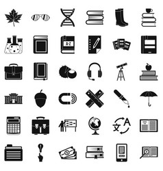 Science equipment icons set simple style vector
