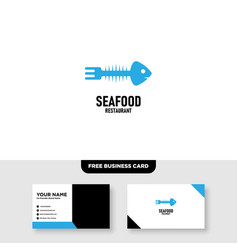 seafood logo template free business card vector image