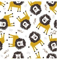 seamless childish jungle pattern with funny lions vector image