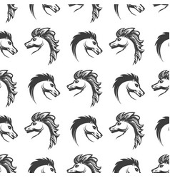 seamless pattern with engrawing horses heads vector image