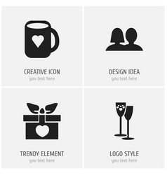 set of 4 editable love icons includes symbols vector image