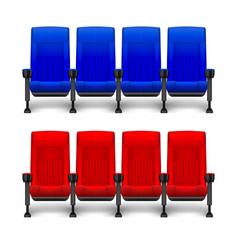 Set realistic comfortable movie chairs vector