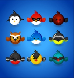 Set round funny birds ob blue background vector image