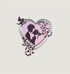 Silhouette of a heart with decoration and vector