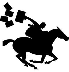 silhouette racing horse with jockey jockey vector image