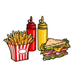 Sketch sandwich potato fry squeeze bottles vector