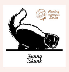 Skunk lifted its tail - funny skunk peeking out vector